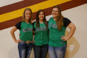 LDNE softball girls co-op and play in Winer. Pictured, from left, Heidi Miller, Blair Preston and Jesse Mutum