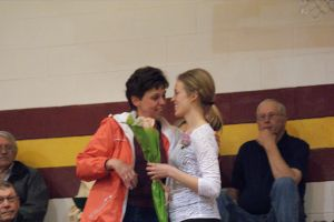 Seniors honored their parents with a rose. L-R-Sarah Miller and Heidi Miller. Photo Courtesy of LDNE.