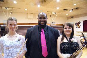 Senior Band members with Mr. Mayo L-R Heidi Miller, John Mayo-Director, Jesika Kramer. Photo Courtesy of LDNE.