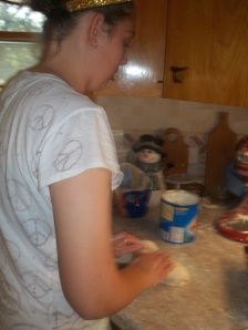Amelia is preparing her delicacy of choice for the cooking category for the fair. Photo courtesy of Amelia Schlichting.