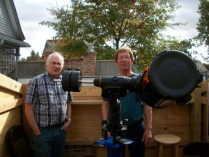 Bill and Joel with the C11 telescope in Hedges Lost in Space Observatory. Photo Courtesy of Nenacstars.