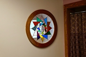 This stained glass picture was made by Rita Going, a nurse at Oakland Mercy Hospital. It is in the mammogram room. Photo Credit/Denise Gilliland, Editor and Chief, Kat Country Hub.