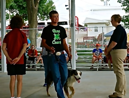 Josh King takes his dog through the obedience portion of the dog show. Photo Credit/Denise Gilliland, Editor and Chief, Kat Country Hub.