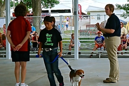 Very obedient dog and owner Rayna Hladky at the Burt County Fair Dog Show. Photo Credit/Denise Gilliland, Editor and Chief, Kat Country Hub.