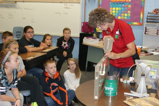 Fifth graders in Holly Loftis's science class had another Mrs. Loftis visit their classroom last week. Mary Loftis, UNL Extension Assistant brought in her groundwater flow models and discussed how water moves through the ground as well as the hydrologic cycle. Watching the groundwater demonstration were: Alex Davis, Addisen Regalado, Maddy Jacobs, Kailey Voss, Carson Lavaley, Aubrynn Sheets, Noel Monif, and partially hidden, Kaleb Quick. Photo courtesy of Mary Loftis.