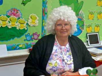 Lyons-Decatur Northeast Kindergarten teacher is dressed as a 100 year old to celebrate the 100th day of school. Photo Credit/Denise Gilliland, Editor and Chief, Kat Country Hub.
