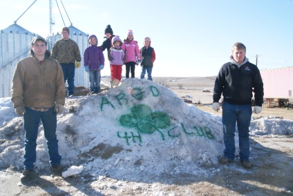 4-H pride during 4-H Week was spelled out in Craig on an icy snow pile by the Argo 4-H Club. Helping in the freezing cold were: Colton Smith, Ryan Smith, Madeline Pearson, Karley Eriksen, Greta Pearson, Brinley Eriksen, Parke Loftis and Justin Smith all of Craig.Photo Credit/Mary Loftis.