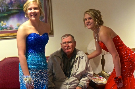 Brynn and Bailey Charling with their grandpa, Dean Charling, during the prom walk through at Oakland Heights. Photo Credit/Denise Gilliland, Editor and Chief, Kat Country Hub.