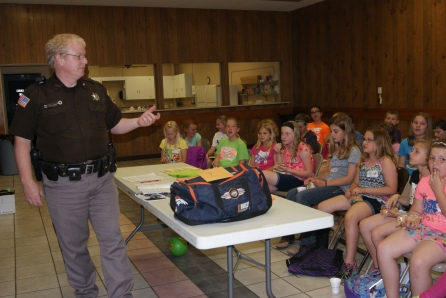 Deputy Sheriff, Eric Nick discussed safety issues at the Babysitting Clinic including when to call 911 with 30 participants last week in Tekamah. This three session workshop drew participants from Lyons, Decatur, Tekamah and Herman.  Photo Credit/Mary Loftis.