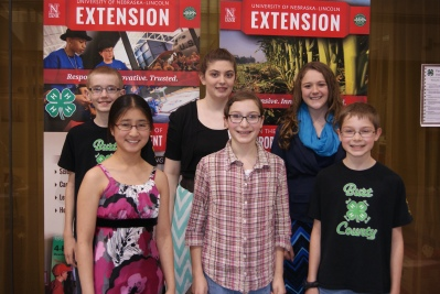 These Burt County 4-H members took their public speaking skills to the Regional 4-H Speech Contest in Norfolk last week. Participating at the regional competition were: Michael Bracht, Rayna Hladky, Amelia Schlichting, Faith Roscoe, Ellie Glup and Paul Roscoe. Arianne Brokaw participated in the contest but was unavailable for the photo.  Photo Credit/Mary Loftis