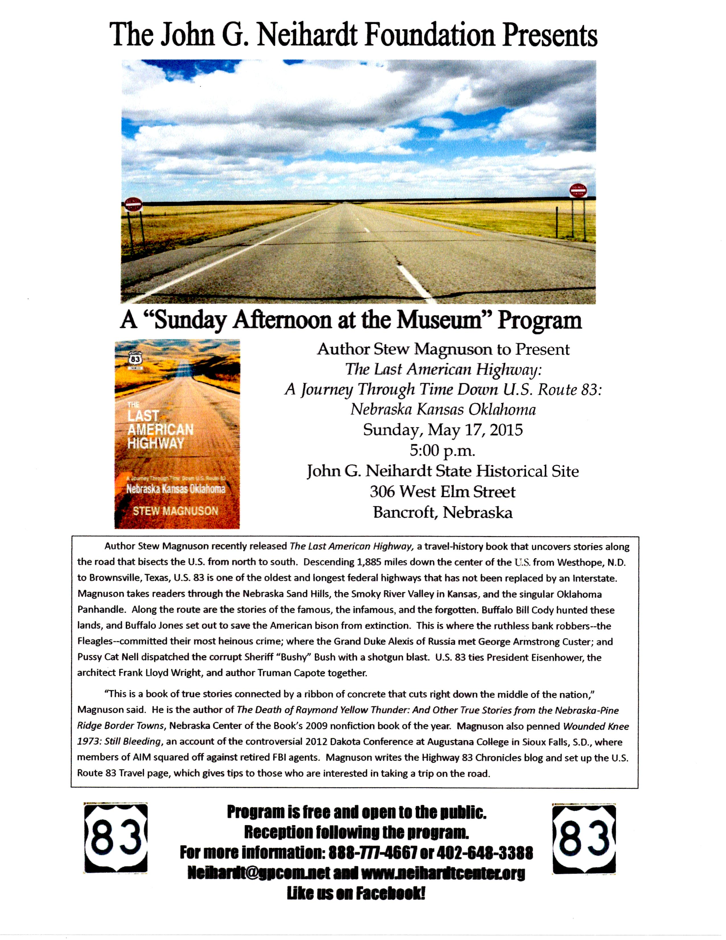 Travel U S  Route 83 With Author Stew Magnuson at Neihardt
