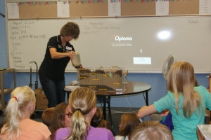 Mary Loftis, Nebraska Extension Associate demonstrates how the groundwater flow model works in Holly Loftis's 5th grade science classes in Tekamah. The group also covered the importance and quantity of water in their bodies and the world, the hydrologic (water) cycle, and conservation. Photo taken by Holly Loftis.