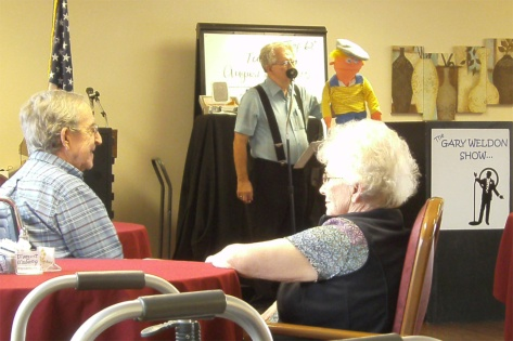 Gary Weldon entertained the residents at Oakland Heights recently. Photo courtesy of Oakland Heights.