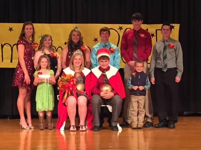 Left to right back row: Mickayla Petersen Jaime Raabe Darcey Simonsen (2014 queen) Chevy Henneman (2014 king) Alec Anderson Martin Long Front row: Maizielyn Josephsen (crownbearer) Abby Peterson Marcus Hegy Colton Brehmer (crownbrearer) Photo courtesy of Cara Raabe.