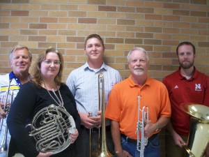 Members are, left to right, Rev. Gary Fugman, Trumpet, Dr. Lisa Mutzenberger, French Horn, Jess Watson, Trombone, Jim Groth, Trumpet and Viktor Sundleaf, Tuba.  The Quintet welcomes Lisa to the 2015 ensemble and anticipates an even more creative year with the addition of her fine musical abilities. Photo courtesy of Gary Fugman.