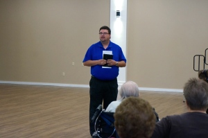 Lyons Mayor Andy Fuston addresses the crowd at the open house for the remodeled community center. Photo Credit/Denise Gilliland, Editor and Chief, Kat Country Hub.
