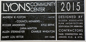 A plaque in the entry way listing those that oversaw the process of the remodeling project. Photo Credit/Denise Gilliland, Editor and Chief, Kat Country Hub.