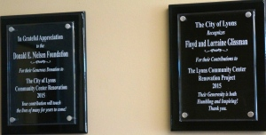 Plaques in the entry way recognizing the Nielsen Center and Glissman's for their contributions to the community center. Photo Credit/Denise Gilliland, Editor and Chief, Kat Country Hub.