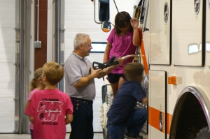 Lyons-Decatur Northeast students learn about fire prevention and escaping a fire during fire prevention week. They also voted on fire prevention posters each elementary class made. All photos credit of Denise Gilliland, Editor and Chief, Kat Country Hub.