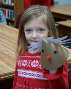 Ella Brands also enjoyed making Rudolph during craft time at the Oakland library. Photo Credit/Denise Gilliland, Editor and Chief, Kat Country Hub.