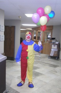 Kathy Reed celebrated Nursing Home week, entertaining the residents with a clown act! Photo courtesy of Oakland Heights.