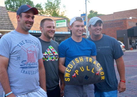 Oakland Swedish Festival Tractor Pull Champions for the 2nd year in a row are, from left, Tommy Sluyter, Preston Johnson, Travis Lindstrom and Luke Blanc. Photo Credit, Denise Gilliland, Editor and Chief, Kat Country Hub.