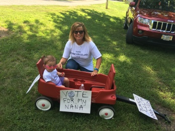 My granddaughter, Penelope, helped me campaign Sunday for Oakland City Council, which I am currently on as Oakland City Council President. We went through the Burt County Fair Parade Sunday, along with other supporters. Her sign says it all: Vote for my Nana! Photo Credit/ Whitney Tran.