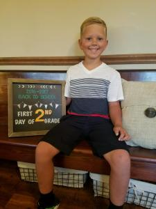 Grayhm Beck starting 2nd grade.