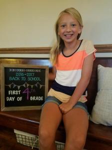 Grayce Beck starting 4th grade.