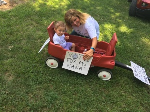 My granddaughter Penelope, campaigned through the Burt County Fair Parade in Oakland encouraging citizens to vote for her Nana!